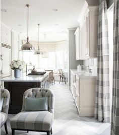 Modern California French country kitchen by Mary McDonald grey and white herringbone floor marble counter tops. Love the chairs also Home Design, Interior Design, Floor Design, Interior Paint, Interior Ideas, Beautiful Kitchens, Beautiful Homes, House Beautiful, Beautiful Space