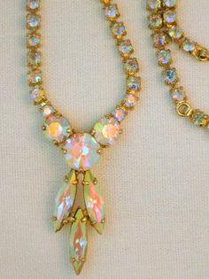 Vintage Sherman Aurora Borealis rhinestone Necklace #vintaagejewelry #Sherman #necklace #ABrhinestone $79.00