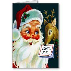 Vintage Santa Claus & Reindeer Christmas Card