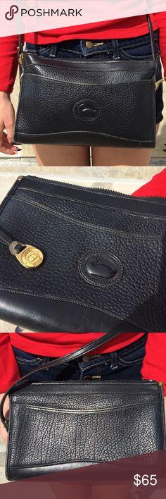 VINTAGE DOONEY & BOURKE PURSE Vintage Dooney and Bourke shoulder strap black leather purse. In moderate used vintage condition Dooney & Bourke Bags