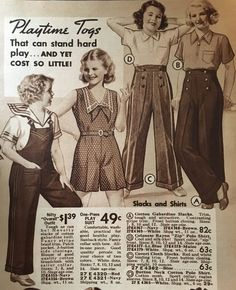 1934 girls overalls for playtime