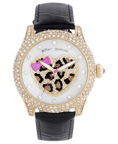 Betsey Johnson Watch, Women's Black Patent Leather Strap 41mm BJ00019-54 - Women's Watches - Jewelry & Watches - Macy's