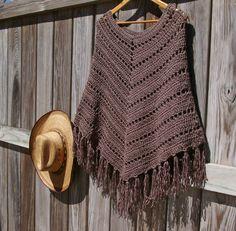 Boho Poncho Crochet Poncho Fringed Poncho in by CandacesCloset