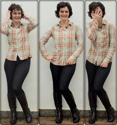 camisa xadrez + bota montaria + jegging + detalhes clique na imagem.