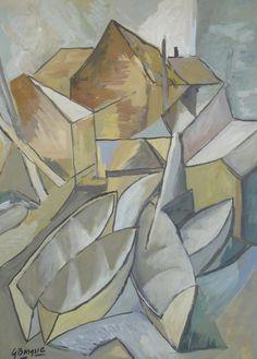 Tempera color painting, Georges Braque signature, Boats, COA #Cubism