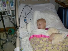 Katelyn Rose had very low platelets in this photo, mom Marie Sassin writes, leading to bleeding sores and daily shots. Katelyn Rose has had 29 spinal taps during treatment.