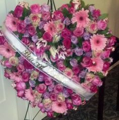 Pink heart for funeral.