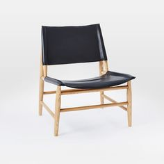 Leather Sling Chair, Black