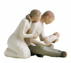 First Mothers Day Gifts:  love this sweet Willow Tree figurine with Mom and Dad cuddled together adoring their new baby!