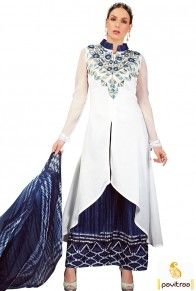 Shop cobalt blue off white cotton chiffon palazzo dress is very stylish printed pakistani dress for all the modern women in India with price #salwarsuit, #palazzosalwarsuit more: http://www.pavitraa.in/store/palazzo-salwar-suits/