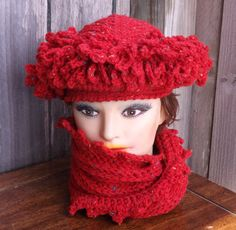Crochet Hat Womens Hat Trendy Womens Crochet Hat LINDA Cloche Hat Red Tweed Hat Red Tweed Scarf Crochet Scarf Hat and Scarf by strawberrycouture by #strawberrycouture on #Etsy