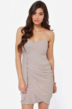 Midnight Masquerade Strapless Grey Dress at LuLus.com!