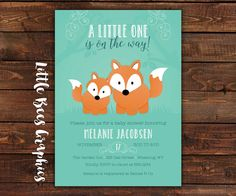 Woodland Fox Family Printable Baby Shower or by LittleBeesGraphics