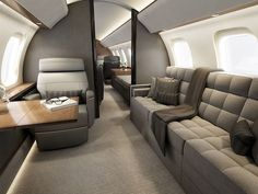 A Business Jet, Private Jet, or Biz-Jet, or simply B., is a jet aircraft designed for transporting small groups of people. Business jets may be adapted for Jets Privés De Luxe, Luxury Jets, Luxury Private Jets, Private Plane, Luxury Yachts, Design Transport, Million Dollar Rooms, Airplane Interior, Private Jet Interior