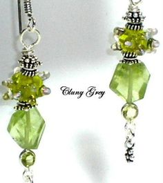 peridot with lampwork earrings