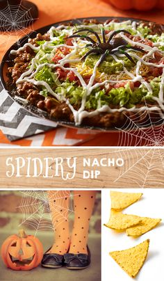 This Spidery Nacho Dip is a perfectly spooky-delicious addition to the neighborhood Halloween party. Halloween Dip, Halloween Appetizers, Halloween Dinner, Halloween Food For Party, Halloween Treats, Halloween Potluck Ideas, Halloween Buffet, Halloween Baking, Healthy Halloween
