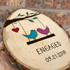 Personalized Engagement Gift - Custom Sign for Couple - Wedding Gift - Love Birds on Swing - Tree With Leves - Heart With Initials - birthday plans - Engagement Rings Personalized Engagement Gifts, Personalized Couple Gifts, Homemade Gifts, Diy Gifts, Diy Projects For Couples, Gift Ideas For Couples, How To Make Signs, Making Signs, Chelsea Wedding