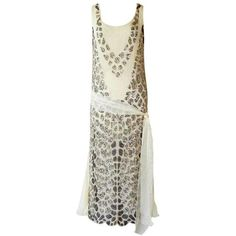Gatsby Inspired Blumarine Couture Silk Chiffon Hand Beaded Evening... (€2.766) ❤ liked on Polyvore featuring dresses, flapper style dress, 20s dresses, roaring twenties dresses, roaring 20s dress and beaded flapper dress