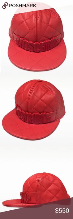 MOSCHINO Red Nappa Leather Baseball Hat Red Nappa Leather Baseball Hat crafted in natural nappa calfskin is a tomboy chic accessory to be paired with your favorite boyfriend jeans and T-shirt for an everyday casual glam style. Featuring quilted design, paneled crown with top button, signature detail on front and flat brim. Signature box and dust bag included. Moschino Accessories Hats