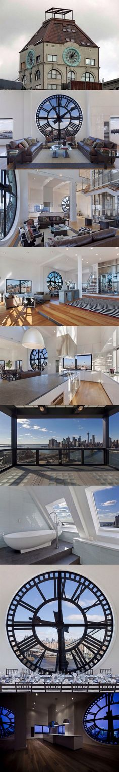 I think I found my dream home! This jaw-dropping 6,813 square feet penthouse offers you a 360 degrees view of NYC, overlooking the Brooklyn Bridge and Manhattan. Its signature feature, however, are the four massive clocks, installed in 14-foot-high round windows on each wall. The three-story apartment, with the ceiling going from 16 to 50 feet in height, also has a glass elevator running up its center.