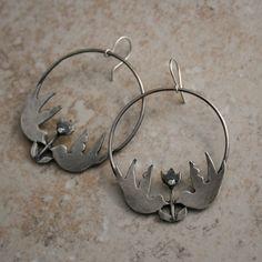 Love Bird Large Sterling Silver Hoops Earrings by KiraFerrer, $75.00