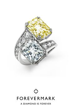 Best Actress in a Drama Series Emmy Award Nominee Claire Danes was a vision wearing this Forevermark Exceptional Diamonds Two Stone Ring with 5.03 ct Exceptional Radiant Diamond and 5.02 Exceptional Fancy Light Yellow Radiant Diamond Ring.