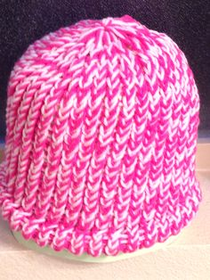 Pink/White Loom Knit Hat, Adult Size. $15