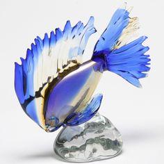 Amber/Blue/Gold Murano Glass Fish