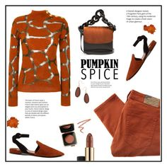 """Pumpkin Spice!"" by diane1234 ❤ liked on Polyvore featuring Balmain, Prada, Estée Lauder, Victoria Beckham, Kim Rogers and Marques'Almeida"