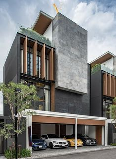Discover recipes, home ideas, style inspiration and other ideas to try. Modern Residential Architecture, Architecture Building Design, Facade Design, Exterior Design, Sustainable Architecture, Modern House Facades, Townhouse Designs, Contemporary Building, House Front Design