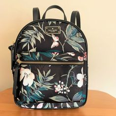 2ad8664aa28 Details about KATE SPADE Botanical Print BACKPACK ~ Nylon Wilson Road Small  Bradley Bag