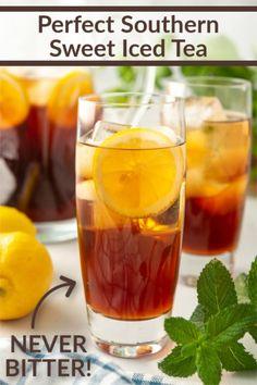 Cool off this Summer with a nice, big glass of this Perfect Southern Sweet Iced Tea!! Let me show you a simple trick to keep it from being bitter! Iced Tea Recipes, Apple Pie Recipes, Cocktail Recipes, Drink Recipes, Cocktails, Alcoholic Beverages, Holiday Drinks, Summer Drinks, Tapas