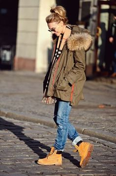 Parka beige and plaid scarf boyfriend jeans and timberlands