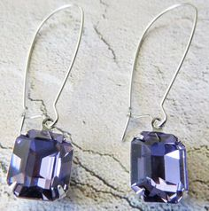 Purple Earrings Tanzanite Earrings Swarovski by GoingHoLLyWood, $21.00