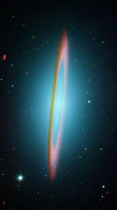 The #SombreroGalaxy in Infrared One of the largest galaxies in the nearby Virgo Cluster of Galaxies. The dark band of dust that obscures the mid-section of the Sombrero Galaxy in optical light actually glows brightly in infrared light. The above image, digitally sharpened, shows the infrared glow, recently recorded by the orbiting Spitzer Space Telescope