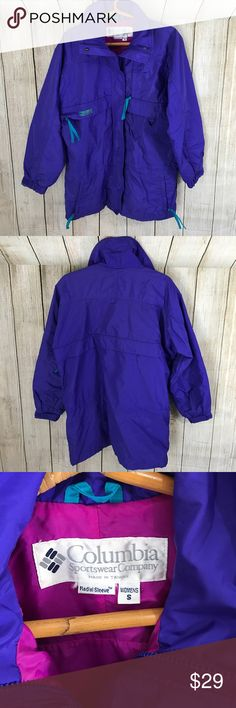 """Vintage Columbia Winter Coat Vintage Columbia Women's Coat. Size S 30"""" long. Lots of pockets! Zip & button up. Used condition. See photos. Columbia Jackets & Coats"""