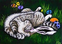 """ Tuckered Out "" 2014 Original Scratchboard Art ACEO Art Card by Monique Morin Matson / Safyre Studios"