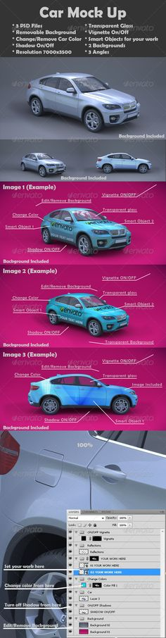 Car Mock Up 3 Psd Files Removable Background Change Remove Color Shadow On Off Resolution Transpare