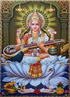 Hindu Goddess of Education ~ Saraswati Saraswathi Maa - Big POSTER (20x30 Inch) picclick.com