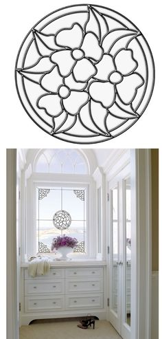 Pansy Medallion Center Stained Glass Wall Sticker - Wall Sticker, Mural, & Decal Designs at Wall Sticker Outlet Stained Glass Flowers, Stained Glass Crafts, Stained Glass Designs, Stained Glass Patterns, Mosaic Patterns, Glazes For Pottery, Beveled Glass, Wall Treatments, Mosaic Art