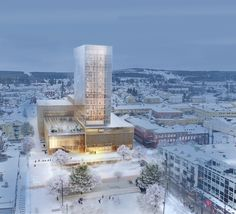 Designed by White Arkitekter. White Arkitekter has been announced as the winners of an international design competition for a hotel and cultural center in the city of. Timber Architecture, Timber Buildings, Architecture Visualization, Architecture Design, Public Architecture, Office Buildings, Commercial Architecture, Wooden Skyscraper, Timber Structure