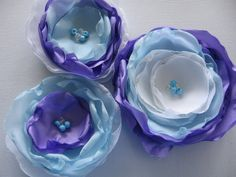 fabric flower sew on embellishment appliques for hair accessories, home decor, flower brooch