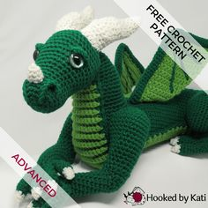 Vincent is a large crochet dragon amigurumi from Hooked by Kati. The pattern is - Amigurumi Crochet Easter, Crochet Baby, Free Crochet, Knit Crochet, Crochet Dragon Pattern, Crochet Patterns Amigurumi, Crochet Dolls, Amigurumi Doll, Crochet Dreamcatcher