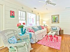 turquoise and pink Tybee beach cottage