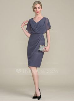 Sheath/Column V-neck Knee-Length Ruffle Zipper Up Sleeves Short Sleeves No Other Colors General Plus Chiffon Height:5.7ft Bust:33in Waist:24in Hips:34in US 2 / UK 6 / EU 32 Mother of the Bride Dress