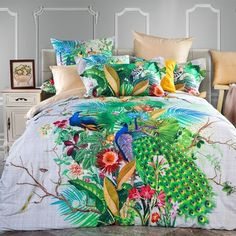 Tropical Hawaiian Blue White Red Gold and Emerald Green Colorful Floral Peacock Print Animal Butterfly Garden Full Size #Bedding #Bedspread #Bedroom Sets