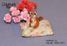Dollhouse Miniature Realistic Handmade Chipmunk OOAK Animal - Malinik Miniatures