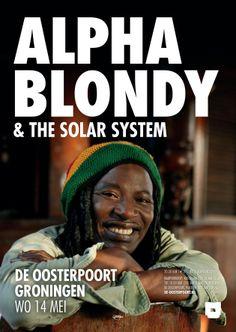 De Ivoriaanse reggaester Alpha Blondy (Seydou Koné) komt samen met zijn 12-koppige band The Solar System de zon naar Groningen brengen. Sinds zijn debuutalbum 'Jah Glory' (1983) scoorde hij hits als 'Jerusalem', 'Apartheid Is Nazism' en 'Brigadier Sabari'. Hij zingt in het Afrikaans dialect, Engels, Frans en af en toe zelfs in het Hebreeuws. Mede door zijn veeltaligheid is hij geliefd over de hele wereld en bovendien in Afrika nog steeds hét reggae icoon.