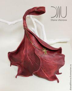 """Сумка кожаная """"Бутон"""" - бордовый,однотонный,подарок женщине,сумка кожаная"""