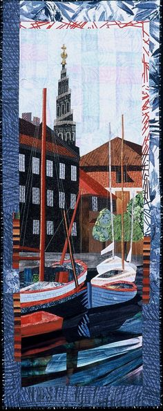 """Reflections, 58 x 23"""", by Ruth B. McDowell.  Machine pieced."""